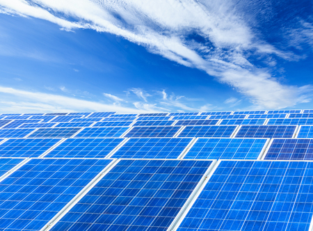 Solar panels and sky background,green energy concept Imagens
