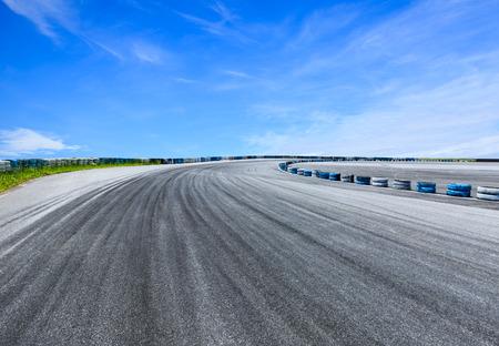 empty asphalt road and sky cloud landscape Stock Photo