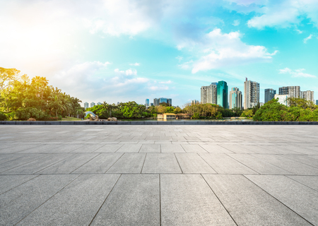 empty square floors and modern city skyline in Shenzhen,China