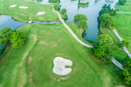 Aerial view of a beautiful green golf course 写真素材