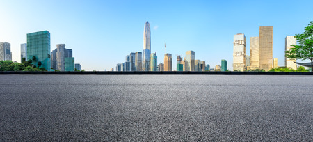 Asphalt square road and modern city skyline panorama in Shenzhen,China