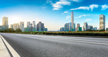 Empty asphalt road and modern city skyline panorama in Shenzhen,China 写真素材