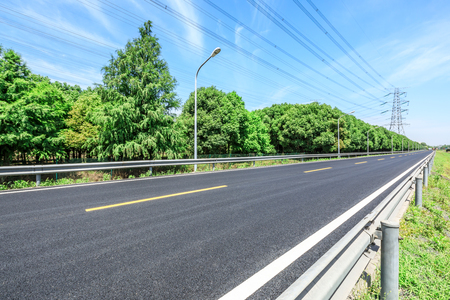 Asphalt road and green forest on a sunny day