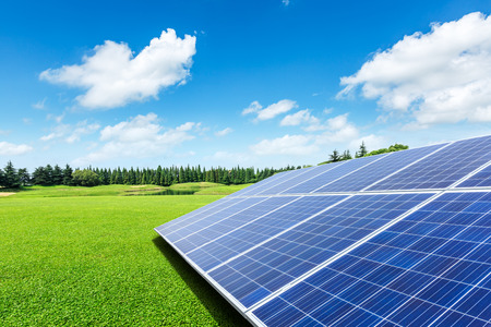 Solar panels and green grass under the blue sky