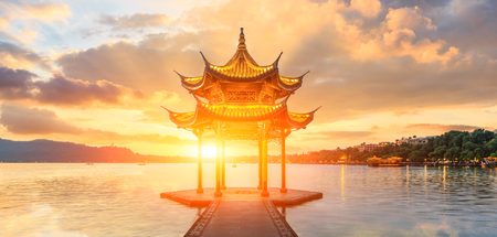 Hangzhou west lake jixian pavilion at sunset,panoramic view