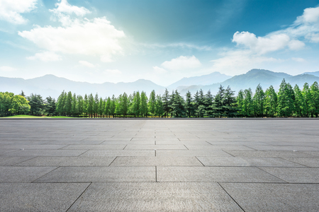 Empty square floor and mountain with trees natural landscape