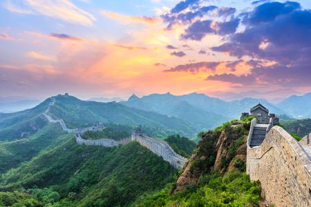 Grande Muraille de Chine au lever du soleil Banque d'images