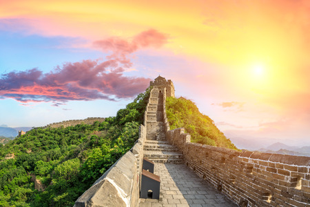Beautiful Great Wall of China at sunset Banque d'images