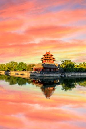 Watchtower of Forbidden City at sunset,Beijing,China