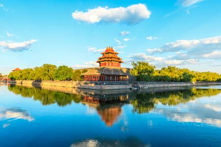 Watchtower of Forbidden City at dusk,Beijing,China