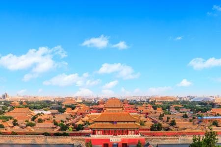 Panorama hierboven op de Verboden Stad, Peking, China