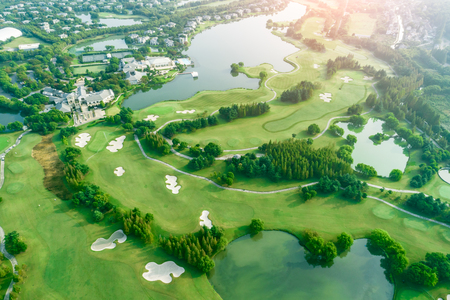 Aerial view of a beautiful green golf course Imagens