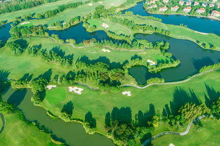 Aerial view of a beautiful green golf course 版權商用圖片