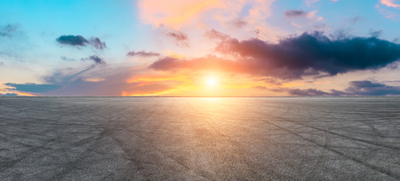 International circuit road and dramatic sky panorama at sunset