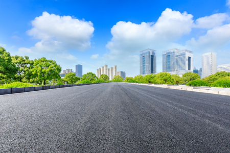 Urban road and modern commercial buildings in Shanghai 写真素材