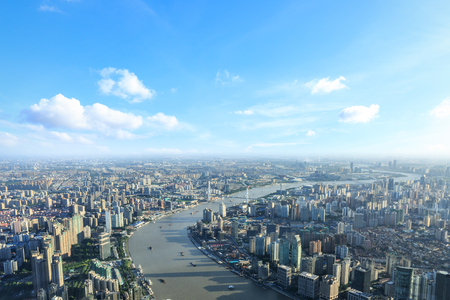 Beautiful Shanghai skyline aerial view Foto de archivo