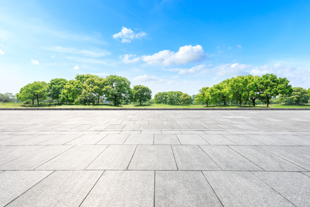 Empty square floor and green forest in the city park