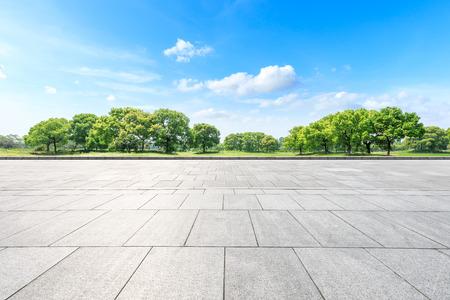 Pusta kwadratowa podłoga i zielony las w parku miejskim