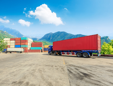 Industrial Container yard for Logistic Import Export business,modern logistics transportation scene 写真素材