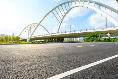 Empty asphalt road and bridge construction in shanghai