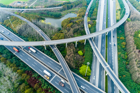 Aerial view of highway and overpass in Shanghai