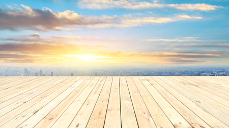 Shanghai city skyline and wooden platform with beautiful clouds scenery at sunset Reklamní fotografie