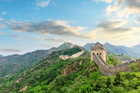 La Grande Muraille de Chine au coucher du soleil Banque d'images