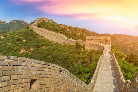 The Great Wall of China at sunset Imagens - 121999013