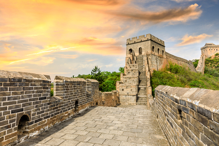 The Great Wall of China at sunset Imagens - 121999413