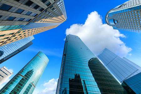 Współczesny biurowiec architektoniczny, miejski krajobraz w Szanghaju Zdjęcie Seryjne