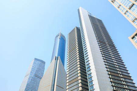 low angle view of skyscrapers in Shanghai,China