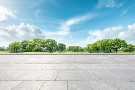 Pusta kwadratowa podłoga i naturalny krajobraz zielonego lasu