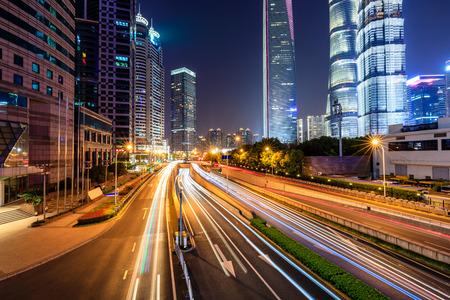 Schöne Nachtansicht der Stadt Shanghai