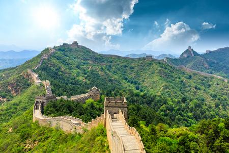 La Grande Muraglia Cinese a Jinshanling Archivio Fotografico