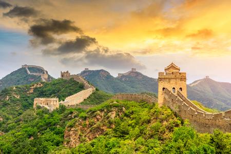 La Gran Muralla China al atardecer, Jinshanling Foto de archivo