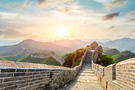 The Great Wall of China at sunset,Jinshanling Imagens - 122475417