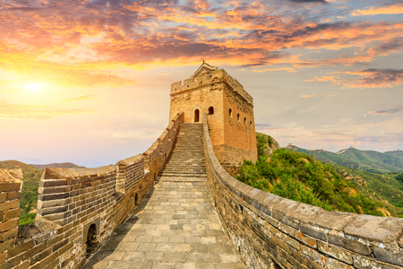 The Great Wall of China at sunset,Jinshanling Imagens - 122475508