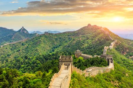 The Great Wall of China at sunset,Jinshanling