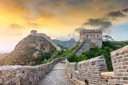 The Great Wall of China at sunset, Jinshanling Imagens - 122581742