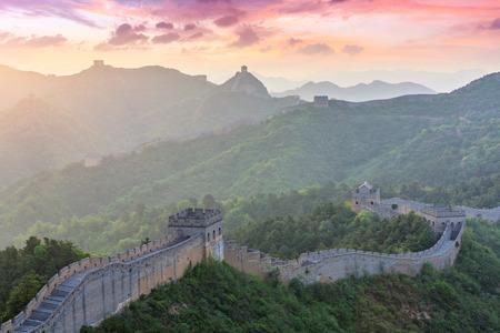The Great Wall of China at sunset, Jinshanling Stock fotó - 122581913