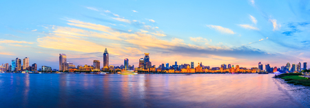city skyline night scene at the Bund,Shanghai 写真素材