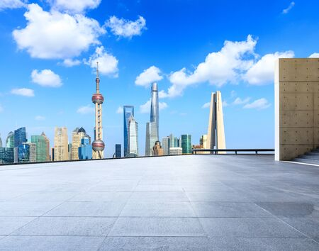 Shanghai skyline and city skyscrapers with empty floor,China