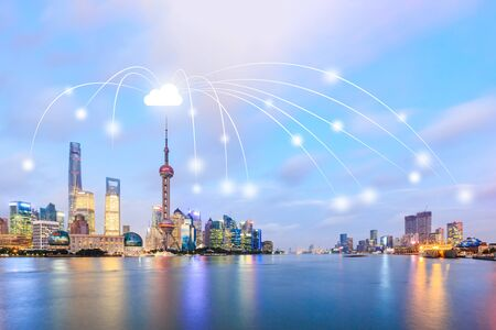 Modern city with wireless network connection concept,Shanghai Stock Photo