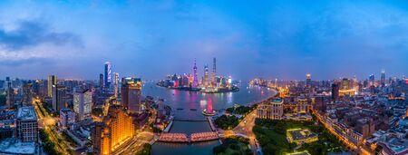 Aerial panoramic view of Lujiazui and Huangpu River,Shanghai