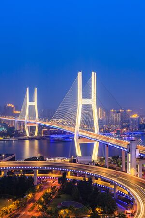 beautiful nanpu bridge at night,crosses huangpu river,shanghai,China