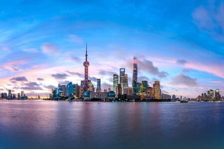 Shanghai skyline and modern urban buildings at sunrise,panoramic view.