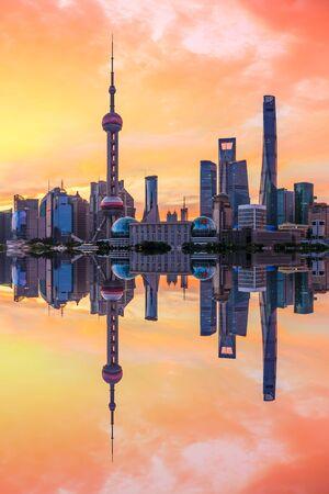Shanghai skyline and modern buildings at sunrise,China.