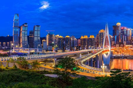 Beautiful cityscape and modern architecture in chongqing at night,China. Imagens