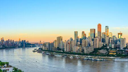 Modern metropolis skyline at sunrise,Chongqing,China Stock Photo