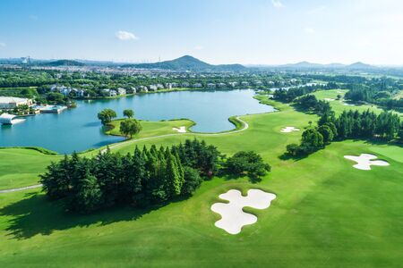 Aerial view of a green golf course.high angle view.